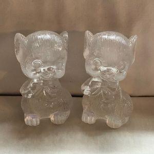 Vintage Clear Plastic Mice Salt Pepper Shakers